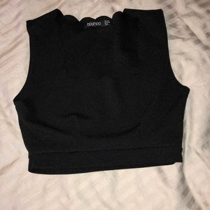 Scalloped crop tank
